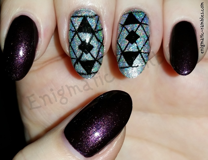 Art Deco Holographic nail art by Enigmatic Rambles