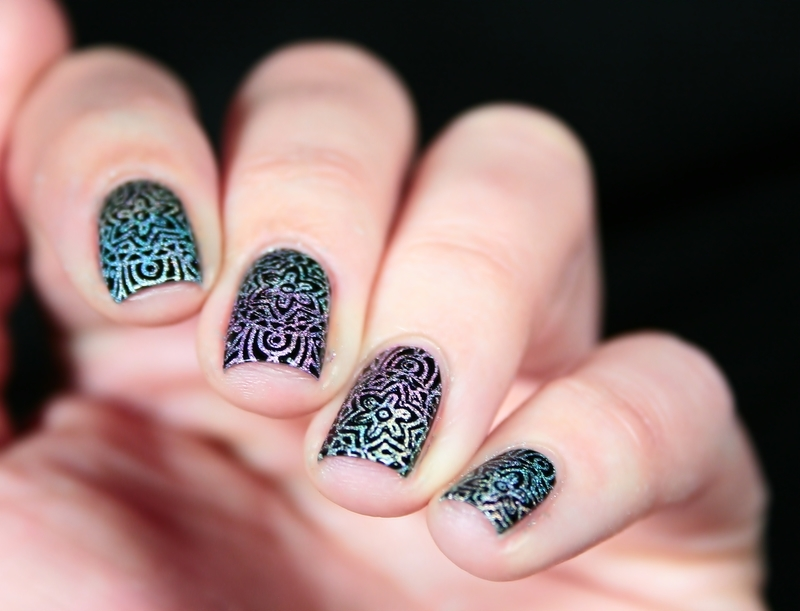 Holographic Stamping nail art by Romana