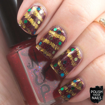 Tinsel Three Times nail art by Marisa  Cavanaugh