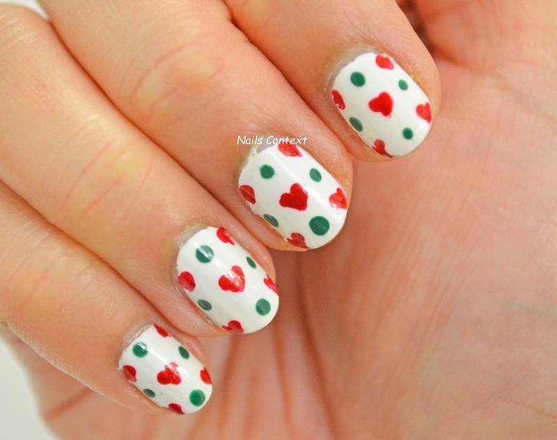 Christmas  Hearts n Dots nail art by NailsContext