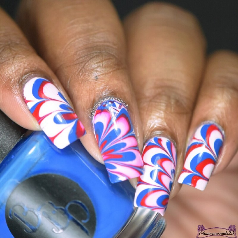 Watermarble Wednesdays: Red, Blue & White  nail art by glamorousnails23