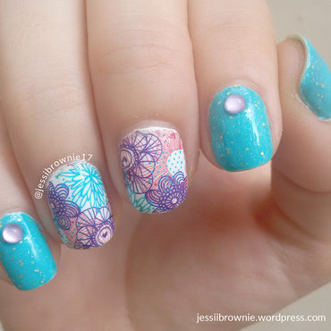 Purple Flower Decals nail art by Jessi Brownie (Jessi)