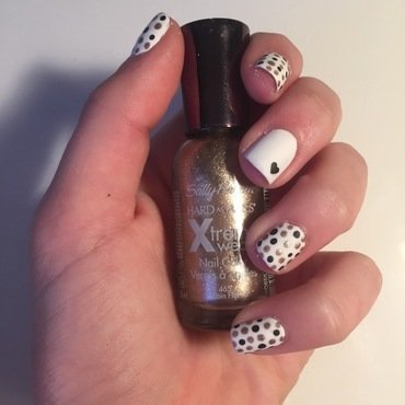 Polka Dots and Heart nail art by abby_nails