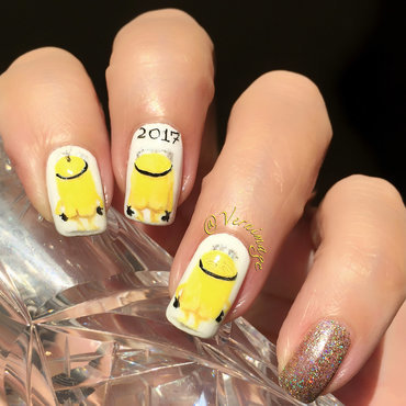 Minion New Year nail art by Vernimage