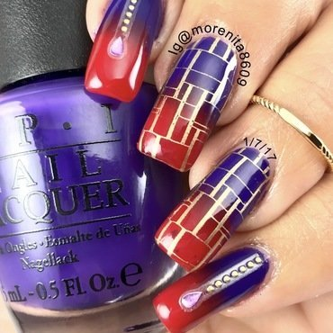 Purple & Red Gradient  nail art by Morenita  Morena
