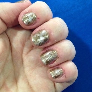 Fall leaves brown on bronze nail art by Rezingona