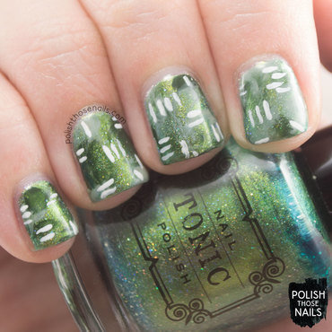 Slitherin' Greens nail art by Marisa  Cavanaugh
