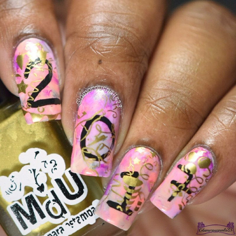 30DOCC Celebration/CNT New Year New You nail art by glamorousnails23