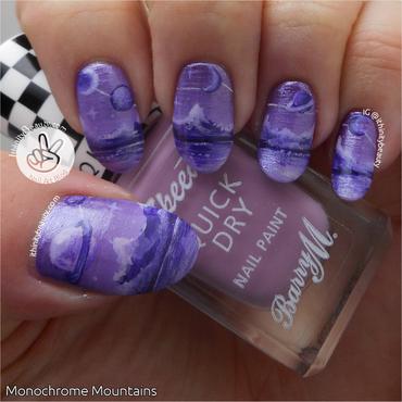Freehand Purple Monochrome Mountains! nail art by Ithfifi Williams