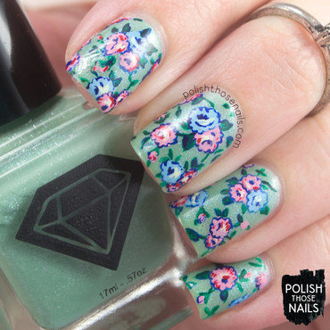 Mint green shimmer 1920s rose floral pattern nail art 4 thumb370f