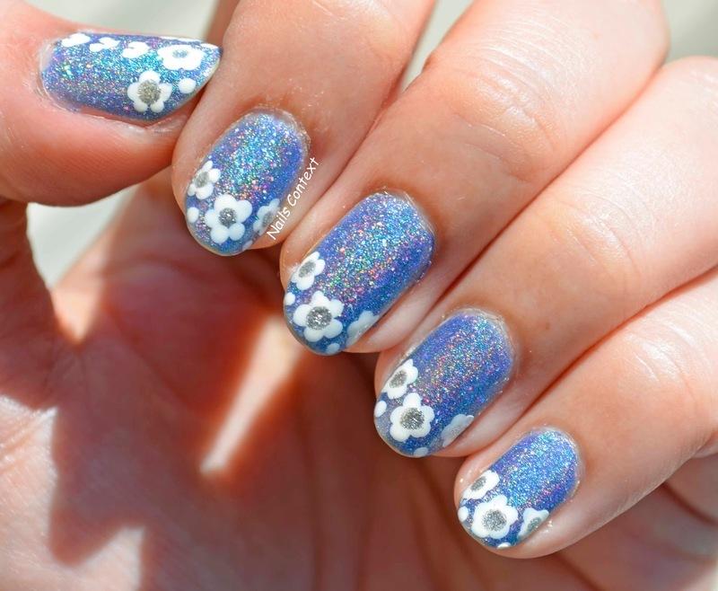 Icy Floral nail art by NailsContext