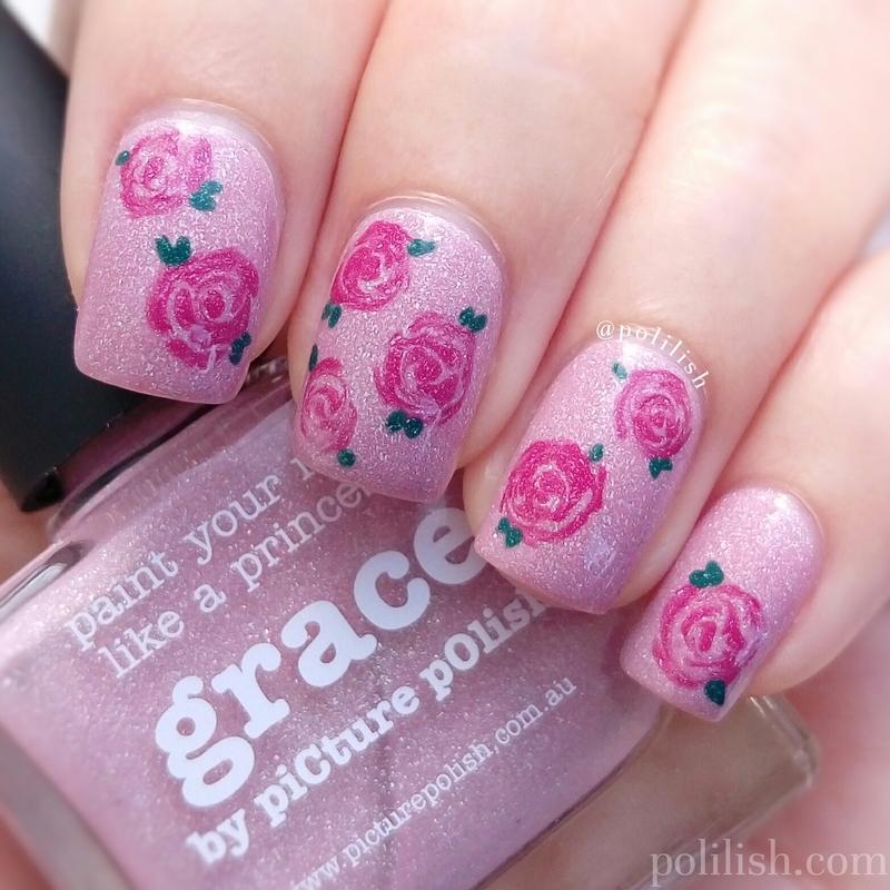Freehand rose design nail art by polilish