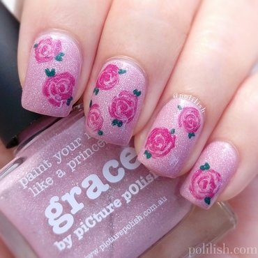 Freehand rose design nail art by polilish
