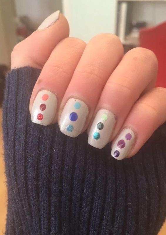 Rainbow Dotticure  nail art by Monica
