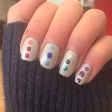 Rainbow Dotticure  nail art by Monica