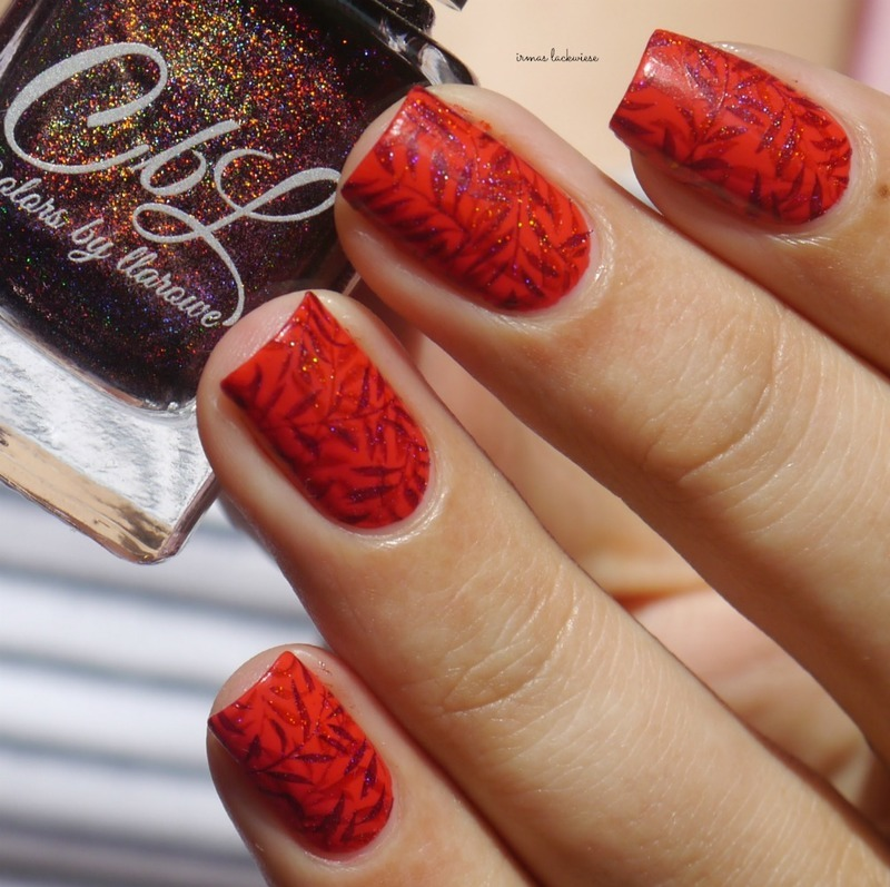 red holo double stamping nail art by irma
