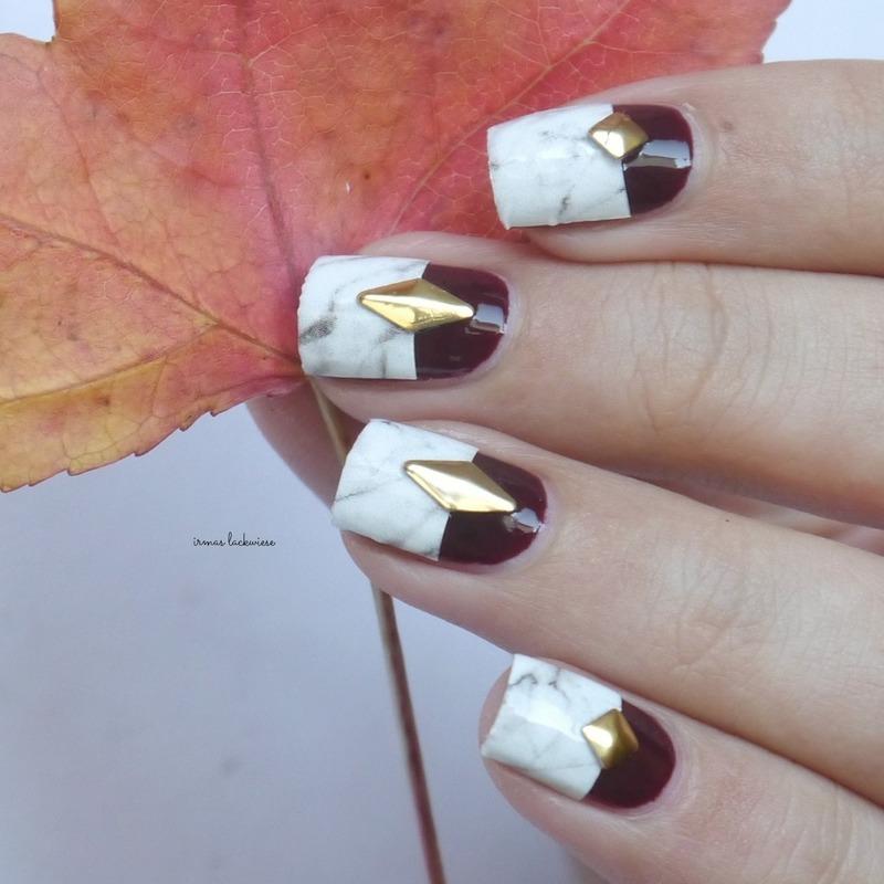 half marble nails nail art by irma