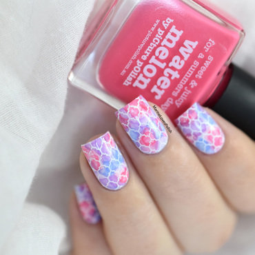 Pastel watercolor moroccan pattern nail art tutorial picture polish watermelon 20 4  thumb370f