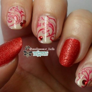 red elegance nail art by Isabella