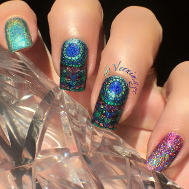 Colored Lace nail art by Vernimage