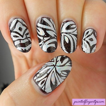 Patterned nail foils nail art by Kerry_Fingertips
