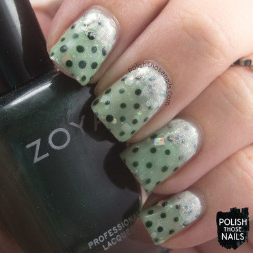 Pale green polka dot shimmer gradient nail art 4 thumb370f