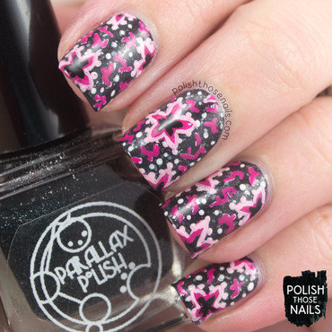 Black flakie pink 1930s star flower pattern nail art 4 thumb370f