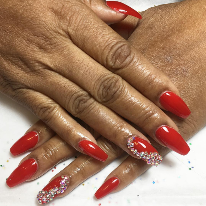 Red Swarovskis nail art by Kristen Lovett