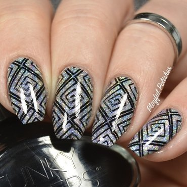 Holographic Nails + Stamping nail art by Playful Polishes