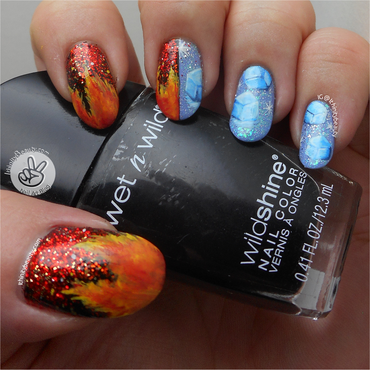 Freehand Fire & Ice nail art by Ithfifi Williams