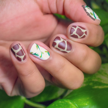 Giraffe Inspired! nail art by Gabrielle