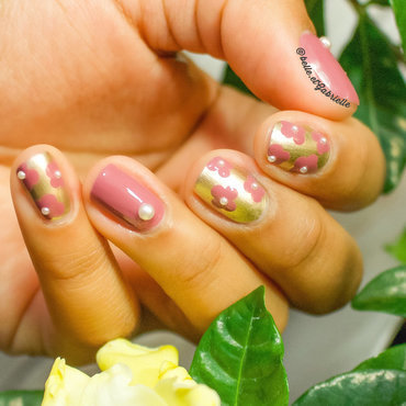 Floral Nail Art with Pearl Studs nail art by Gabrielle