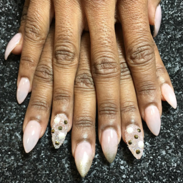 Soft pink and gold nail art by Kristen Lovett