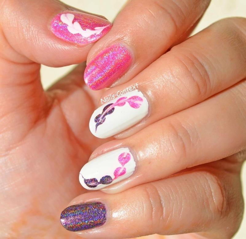 Holo Drag Marble Nails  nail art by NailsContext