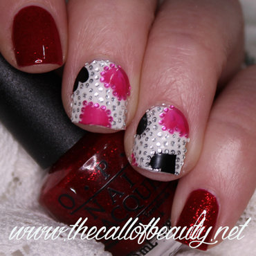 Red and Pink Hearts nail art by The Call of Beauty