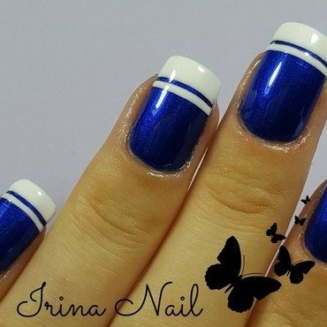 White french with blue backgraund nail art by Irina Nail
