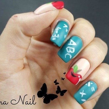 Blackboard and Apple nail art by Irina Nail