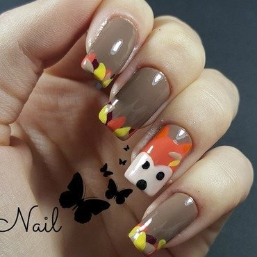 Inspired Autumn Fox Nail Art  nail art by Irina Nail