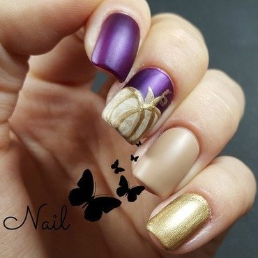Purple autumn nails nail art by Irina Nail