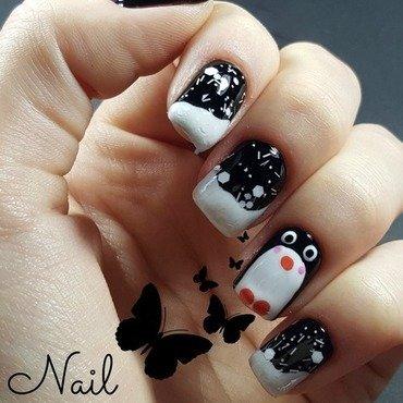 Pinguin nails nail art by Irina Nail