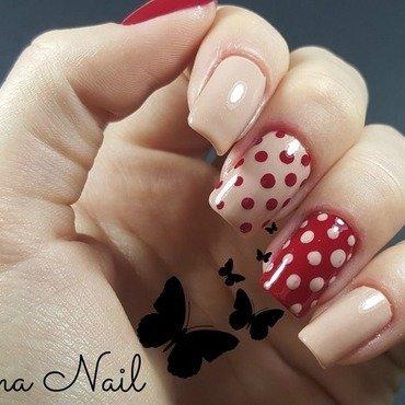 Nude and red nails nail art by Irina Nail