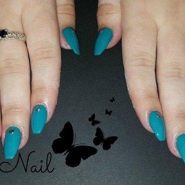 Turquoise gel nails nail art by Irina Nail