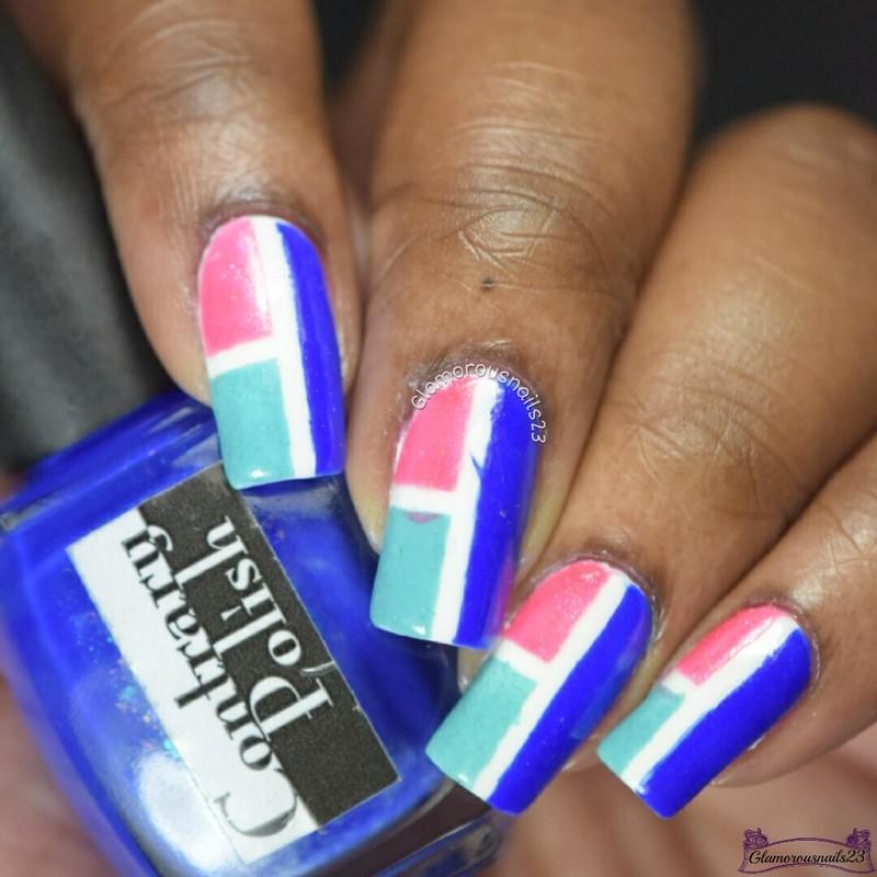 WNAC January 2017 Day 6 - Color Block nail art by glamorousnails23