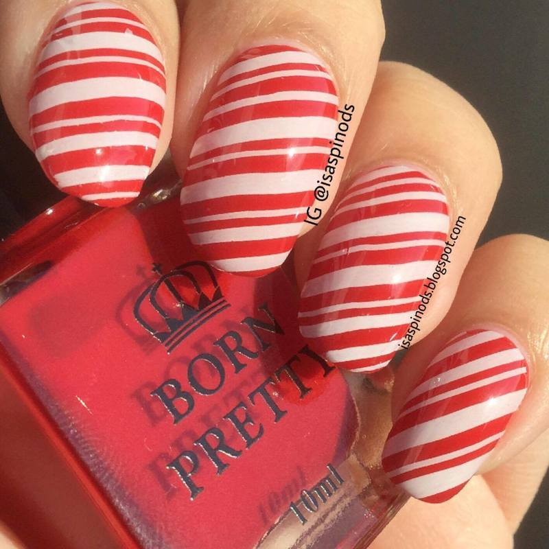 Candy Cane Stamped Nails nail art by Isabel