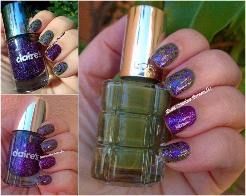 Claire's Velour and L'Oréal Vert Absynthe Swatch by Dora Cristina Fernandes