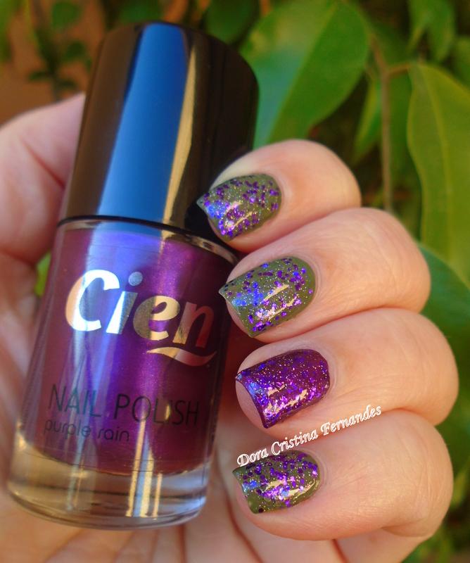 Vert Absynthe, Velour & Purple Rain nail art by Dora Cristina Fernandes