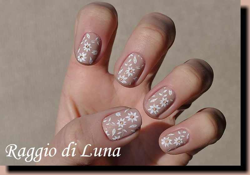Stamping: White flowers on translucent beige nail art by Tanja