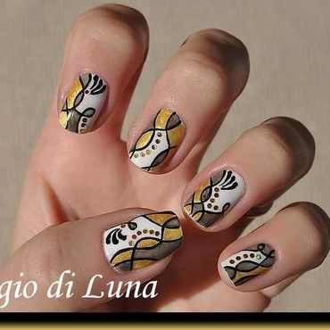 Abstract white & grey & golden manicure nail art by Tanja