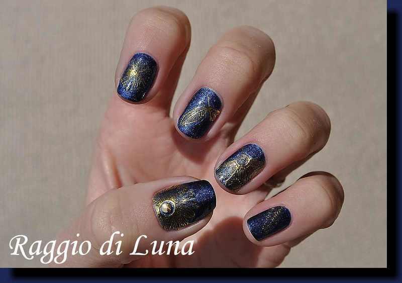 Embossed nail stickers rose flower on dark blue nail art by Tanja