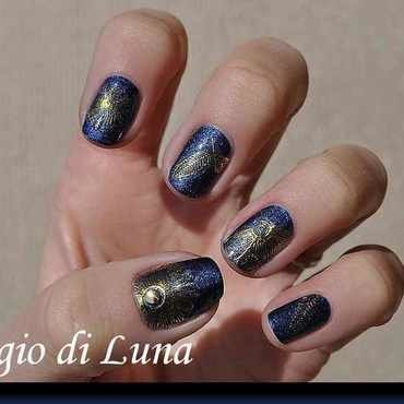 Embossed nail stickers rose flower on dark blue nail art by Tanja